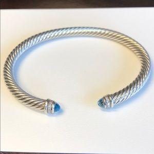 David Yurman Cable bracelet blue topaz diamond